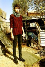 Oliverio Perez - Forever 21 Jersey Scarf, 2nd Hand Beetlejuice Cardigan, Social Colission Black Pants, Brother's From Army Patent Shoes - Indie Song Title