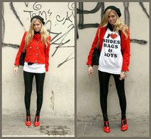 Chiara Ferragni - Red Coat, Sweater By Brandy, American Apparel Leggings, Vivienne Westwood Red Melissa Shoes With, Chanel 2.55 Jumbo Black - I love shoes, bags and boys