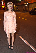 Lovisa Långstrump - ?? Sparkly Dress I Remade, Home Made Used To Be The Hem Now The Belt, Homemade Fabric Headband, America Apparel Sheer Backseam Tights, Urban Outfitters Black Studded Cut Out Shoes, Thrift Buncha Rings - Who are you talking to