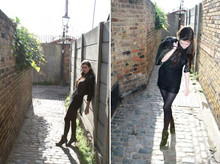 Carlota Collins - Morlands Leather Jacket, Vintage Lace Dress, M&S Tights, Vintage Russell & Bromley Leather Ankle Boots - The morning after the night before.