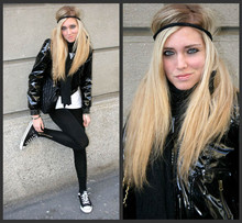 Chiara Ferragni - Latex Jacket, Brandy Zip Leggings, Converse Black Paillettes, Chanel Black Jumbo Bag, American Apparel - Latex jacket