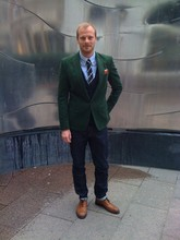 Christian Crøll - Filippa K Cord Jacket, Filippa K Raw Jeans, Vintage Tie, Brougue Shoes - Racing Green