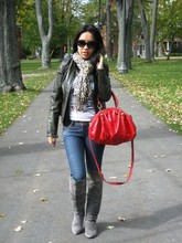 Monica W - Chinese Laundry Turbo, Aldo Red Patent Satchel, Olive Leather Jacket - My heart had a crash when we spoke