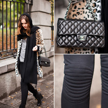 Caroline B - Chanel Bag, Leggings, Zara Coat - Leopard+chanel