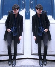 "Romain Le Cam - General Idea By Bumsuk Black Coat, AgnèS B Dark Blue Cotton Shirt, April 77 Black Skinny Jeans, Lanvin Black Leather Boots - ""For anyone with a Broken Heart"""