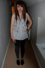 Jessica Searle - Primark Black Jewelled Cocktail Ring, New Look Grey Acid Wash Leggings, Office Black Lace Up Plimsolls, Topshop Denim Acid Wash Studded Gilet, Acessorize Pink Victorian Style Necklace, Urban Outfitters White Rose Necklace, Urban Outfitters Blue Grey Lace Back Top, Urban Outfitters Rope And Chain Bracelet, Primark Owl Face Ring - I found my missing piece