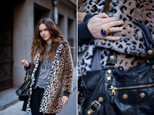 Caroline B - Yves Saint Laurent Ring, Zara Coat - Golden details