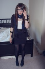 Jessica Searle - Urban Outfitters Rope And Chain Bracelet, Primark 4 Strap Studded Waist Belt, Topshop Black Ribbed High Waisted Bodycon Skirt, Black Tights With Slits In At Back Done By Me, Nerd Glasses, Blue Glittered Scarf, Charity Shop Black Blazer, Topshop White Vest Top, Urban Outfitters Shiny Black Studded Bangle, Office Black Lace Up Plimsolls, H&M Gold Charm Bracelet - Dancing is my remedy