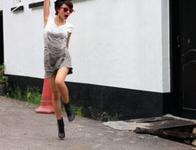 "Jacinda Yee - Ray Ban Pink ""Raybans"", Sequinned Fringe Dress, Lace Up Boots - BURN THIS DISCO OUT"