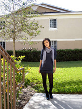 Hieu Nguyen - American Eagle Scarf, Urban Outfitters Sweater Dress, Justice Tights, Ebay Ankle Boots - First cold front in florida