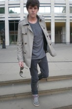 Nacho Duyos - Topman Trench, H&M Tee, Cheap Monday Pants, Nike Sneakers, Wayfarer Sunnies - BB thing