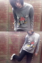 Charlie Casey - Topman Mickey Mouse Top, Topman Black Skinny Jeans, Converse Ancient White High Tops - Oh mickey, you're so fine