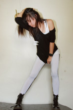 Jeannie Lee - Nike Tank Top, Chanel Necklace, Two Tone Legging, Dr. Martens Boots, Mango Sweater - Duo