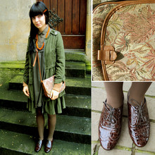 Aga K. - See By Chloé Brown Brogue, Vintage Gobelin Bad With Lion, Asos Olive Trench, Zara Green Dress - Foggy afternoon