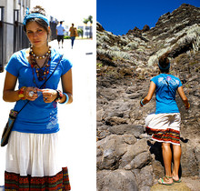 Sasha Kiseleva - Roxy T Shirt, Secondhand, London Hippie Skirt, Thailand Little Bag - Sunny Tenerife. I really miss that time..