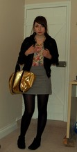 Jessica Searle - Primark Shiny Gold Bag, Black Tights, Studded Ankle Boots, Primark Gold Chain Necklace, My Sister's Black Zip Up Hoodie, H&M Black Faux Leather Jacket, Primark Gold Owl Face Ring, Topshop Floral Leotard, Urban Outfitters Grey Zipper Skirt - Your smile's been losing it's charm