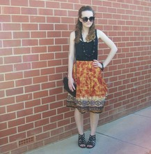 Maddison K - Groove Round Black Sunglasses, Black Beaded Necklace, Cotton On Black Singlet, Op Shop Tribal Skirt, Op Shop Black Handbag, Target Black Sandals - When I close my eyes you're everywhere