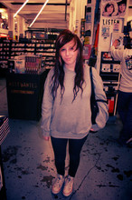 Siani Warner - Topshop Leather Bag, Primark Crew Neck Jumper, Tk Maxx Jeggings, Converse Ed Hardy Converses - Rough trade