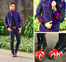 Dennis Robles - Custom Made Navy Military Jacket, H&M Black Shirt, Cheap Monday Black Jeans, Comme Des Garçons Red Belt, Dr. Martens Union Jack Boots, Mango Spikey Acrylic Cuff - Sgt pepper