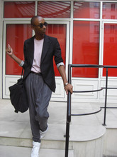Jerome LaMaar - Adidas White Sneakers, H&M Satin Harem Jeans, Compleated Black Blazer, Alexander Wang Pale Pink T Shirt, Gap Canvas Tote, Helmut Lang Black Braided Belt - Leaving Comme des garcon in Paris on a RED EYE.