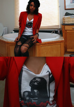 Autumn Polk - Moms Closet Black Beret, Target Diy Tights, Garage Sale Red Blazer, Diamond Co. Diy Tee - Of Moons, Birds, & Monsters