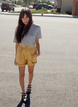 Jen Hammer - Striped Tee, High Waist Shorts, Triple Strap Flats - Last day of the warm season