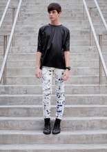 Damien Verhagen - Shiny T Shirt, Silence/Noise Dyed Skinny Jeans, Zara Boots, Tendence Watch - Caterpillar