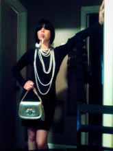 Courtney Wilks - Black Long Sleeved Top, Black Bobbed Wig, Cigar Club Cigarette Holder, Chandelier Earrings, Pearls (Vintage&New), Chanel Vintage Gold Purse, Vintage Weeping Lace, Forever 21 High Waisted Skirt W/ Suspenders - Channeling coco chanel