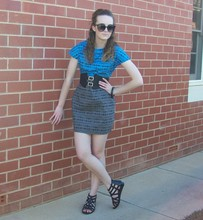 Maddison K - Groove Black Round Sunglasses, Purr Blue And Grey Dress, Op Shop Black Buckle Waist Belt, Target Black Cage Style Sandals - Hope you have a lot of nice things to wear