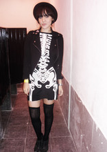 Ninjaintherun Kalahari - Forever 21 Crossed Cotton Jacket, Skeleton Customized Dress, Bakers Oxfords, Knee Socks, Fedora - Punk O' Rama II on halloween eve