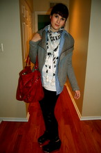 Dayna M. - Jeffrey Campbell Alexa Wedge Booties, Zara Skull Scarf, Forever 21 Blue Shirt, Bcbg Really Warm Gray Jacket, Bcbg White Necklace Tank, Francesca Red Studded Bag, Wetlook Tights - 123456789