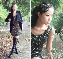 Mayo Wo - Sequin Bow Brooch, Mecca Studded Dress With Sequin, Ash Footwear Knee High Wedge Boots - Sequin bow