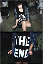 Tinamarie V - Urban Outfitters The End Oversized Tank, Buffalo Exchange Black Studded Boots, Given To Me By A Friend Blue Flannel, Forever 21 Grey Beanie - The end.