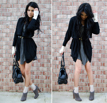 Trang Huyen - Sheer Knee Stockings, Prada, Studded Tank Dress, Draped Cardi, Gold Rimmed Belt, Kors, Diy Eyelet Gloves, Hanes Boys Tank - Let's go!