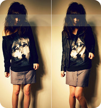 Rachel-Marie Iwanyszyn - H&M Wolf Sweatshirt, Pitaya Gray Skirt With Zippers, Flying Tomato Leather Jacket, Http://Jaglever.Tumblr.Com - Calling moon and moon