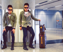 Dennis Robles - Tyler Grey Double Breasted Jacket, Topshop Black Jeans, Hudson Black Combat Boots, Louis Vuitton Sac Bosphore Mm, Louis Vuitton Pegase Trolley, Louis Vuitton Evidence Sunnies - It takes two to tango