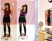 Lucinda VM - Dunoe Sleeveless Denim, Gold Chain Necklace, American Apparel Leotard, Stolen From Cool Gran., Hnm Body Con Mini, Mums Lacy Tights, Primark Knee Highs, Primarkkk Brogues - Like all the boys before.