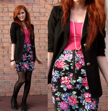 Rachael S - Urban Outfitters Floral Skirt, Thrifted Blazer, Vintage Granny Ankle Boots, H&M Pink Tank, Nana's Pearls - Our love is like the flowers, the rain and the sea and the hours