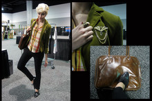 Elizabeth Allen - Mango Laptop Bag, Thrifted Broach, J. Crew Olive Velvet Blazer, Vanilla Jeans Black Pants With Some Strrretch, Ladies Oxfords   99cents Baby!, Sickboy Vintage Blouse - Software Tradeshow