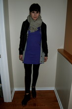 Dayna M. - Gray Wool Scarf, Forever 21 Faux Leather Jacket, Zara Gray Cardigan, H&M Purple Zipper Dress, Tights, Jeffrey Campbell Alexa Wedge Booties - Purple&gray&black