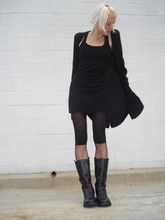 Biz C - Express Ribbed Racerback Dress, Zara Cardigan, Urban Outfitters Opaque/Sheer Tights, Ann Demeulemeester Boots - Half & half