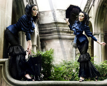 Kassandra Leigh - Retroscope Fashion Cobalt Silk Ruffle Blouse With Cravat., Retroscope Fashions Black Hobble Skirt. - Walking on Air.