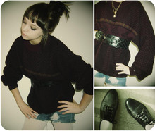 Kelsey R - Lockets, Thrifted Oversized Sweater, Black Belt, Diy Ripped Shorts, White Tights, Thrifted Black Oxfords - I've Got A Cure, Hold Tight