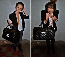 Agnija Grigule - Gold Chains, Chanel Bag, Jacket, White Shirt, Boots, Leggings - Satisfaction