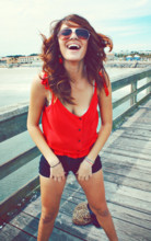 Bia Scarpelli - Miley Cyrus High Waisted Shorts, Old Navy Shirt - By The Sea