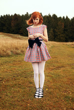 Elin . - Home Made Dress, Beyond Retro Bow, American Apparel Tights, Topshop Shoes - Picnic dress