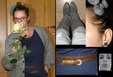 Angie B - Wool Hairband Made By Me, Yellow Rose From My Garden, My Father's Cardigan, H&M Blue Long T Shirt, Vintage Leather Belt, Zara Skinny Jeans, Urban Outfitters Grey Boots, Bottton Changed In Earring - The yellow rose