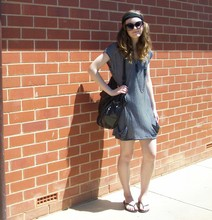Maddison K - Black Headband, Groove Round Black Sunglasses, Jay Jays Chain Necklace, Sportsgirl Black Handbag, Jeans West Black And Grey Striped Dress, Havaianas Black Thongs - This Modern Love