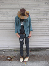 Cruz V. - Vintage Leather Hat, Vintage Shirt, Levi's® Jacket, Flea Market Belt, Cheap Monday Jeans, Vintage Calf Hair Boots - PINBALL