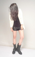 Sammy Liang - Cheetah Couture Leather Shorts, Silence Noise Boyfriend Blazer, The Frye Company Shoes - 20091121